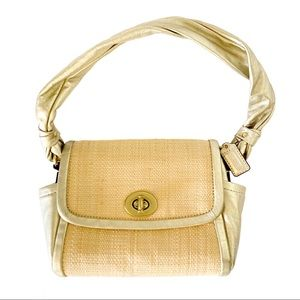 Coach Parker Straw And Leather Handbag Gold